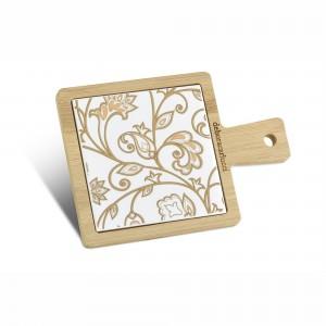 Tagliere quadrato piccolo in bamboo e ceramica damascata