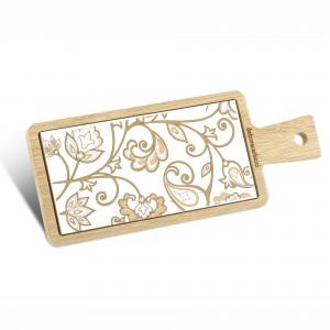 Tagliere rettangolare in bamboo e ceramica damascata