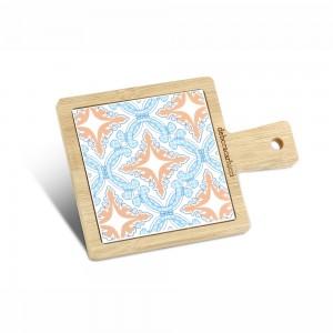 Tagliere quadrato piccolo in bamboo e ceramica galles