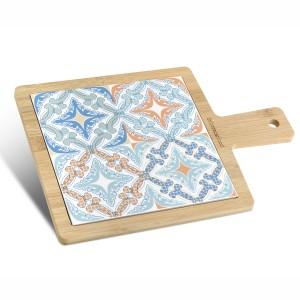 Tagliere quadrato grande in bamboo e ceramica galles