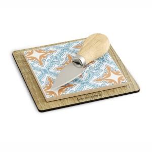 Tagliere mini in bamboo e ceramica galles + coltello da formaggi