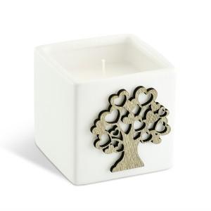 Portacandela a forma di cubo grande con albero della vita