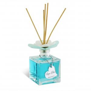 Diffusore in bottiglia quadrata con tappo fiore 200ml Aqua Blue