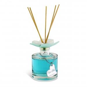 Diffusore bottiglia tonda con tappo fiore 100ml Aqua Blue