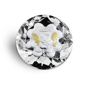 Diamante cristallo con quadrifoglio e angioletto