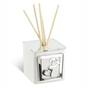 Profumatore piccolo in ceramica e base in plexiglass argento