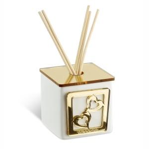 Profumatore piccolo in ceramica e base in plexiglass oro