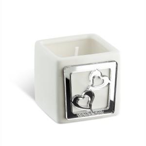 Portacandela piccolo in ceramica e dettaglio in plexiglass argento