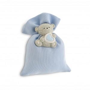 Sacchetto azzurro con orsetto magnete