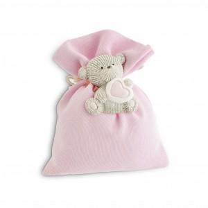 Sacchetto rosa con orsetto magnete