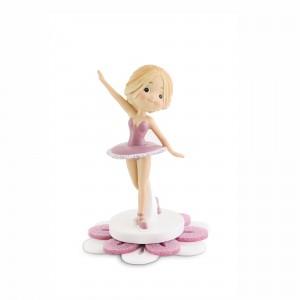 Ballerina piccola con base fiore in plex glitter