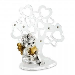 Albero grande in plex con angelo seduto con cuore argento