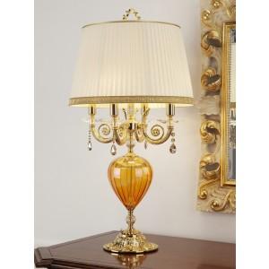 LAMPADA DA TAVOLO 4 LUCI IN METALLO ARGENTO E VETRO SOFFIATO ROSSO Ø 45 - H 86