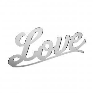 Scritta LOVE in plex specchio argento, cm 30