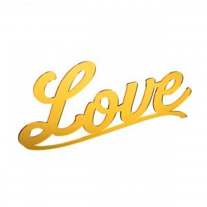 Scritta LOVE in plex specchio oro, cm 40