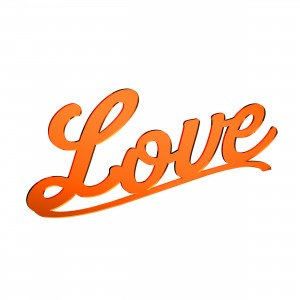 Scritta LOVE in plex specchio rame, cm 30