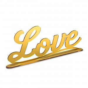 Scritta con base LOVE in plex specchio oro, cm 50