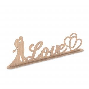 Scritta con base SPOSI-LOVE-CUORI in legno, cm 30