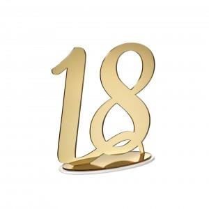 NUMERO 18 CON BASE CM H20, PLEXI SPECCH/ORO