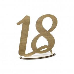 NUMERO 18 CON BASE CM H20,LEGNO