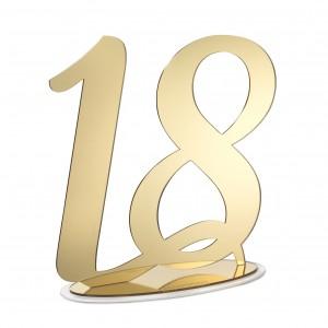 NUMERO 18 CON BASE CM H30, PLEXI SPECCH/ORO