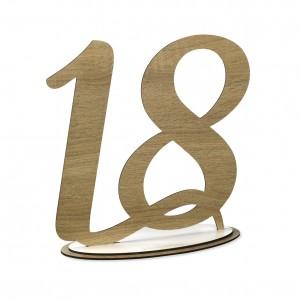NUMERO 18 CON BASE CM H30,LEGNO