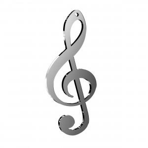 Pendente Chiave Musicale in plex specchio argento, cm 2,5x6