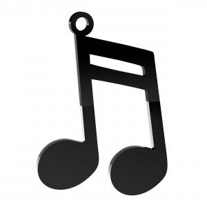 Pendente Nota Musicale in plex nero, cm 4x5