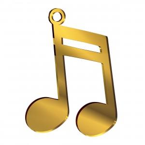 Pendente Nota Musicale in plex specchio oro, cm 4x5