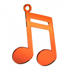 Pendente Nota Musicale in plex specchio rame, cm 4x5