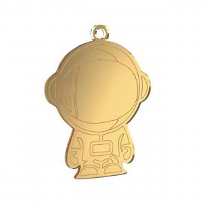 Pendente Astronauta in plex specchio oro, cm 2,5x3