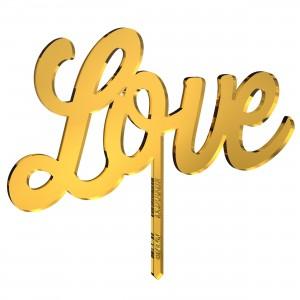 Cake Topper LOVE in plex specchio oro, cm 20