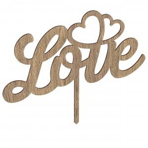 Cake Topper LOVE-CUORI in legno, cm 20