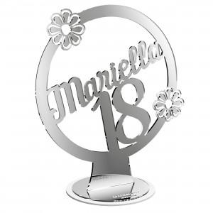 """Cake topper con base """"18° Fiori Nome"""" in plex specchio argento, cm 30"""