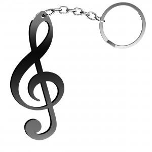 Portachiavi Chiave Musicale in plex nero, cm 2,5x6