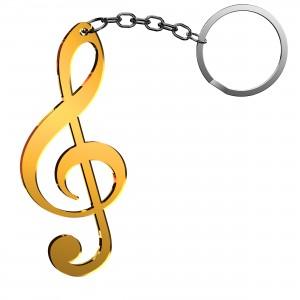 Portachiavi Chiave Musicale in plex specchio oro, cm 2,5x6