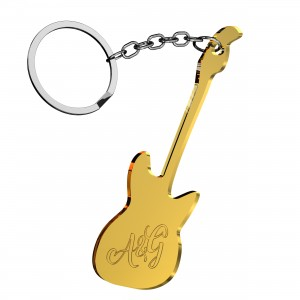 Portachiavi Chitarra in plex specchio oro con incisione iniziali, cm 4x6