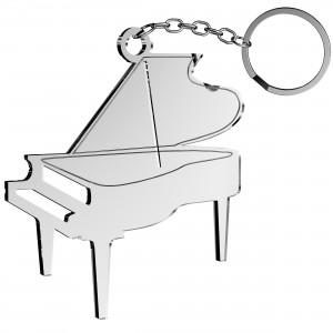 Portachiavi Pianoforte in plex specchio argento, cm 5x5