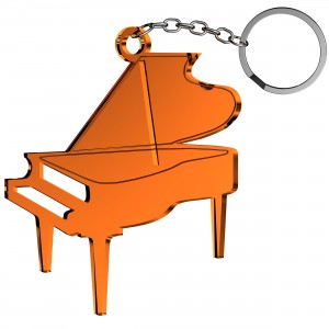 Portachiavi Pianoforte in plex specchio rame, cm 5x5