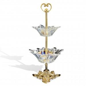 coppa grande  in vetro con metallo oro  CM Ø20-H12