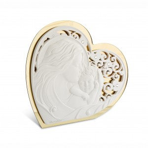 Icona media a forma di cuore in resina e plex oro per Maternità
