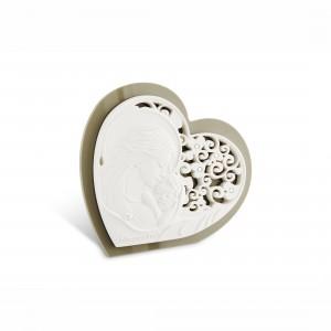 Icona piccola a forma di cuore in resina e plex tortora Maternità