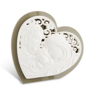 Icona grande a forma di cuore in resina e plex tortora Sacra Famiglia