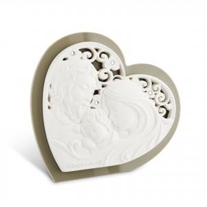 Icona media a forma di cuore in resina e plex tortora Sacra Famiglia
