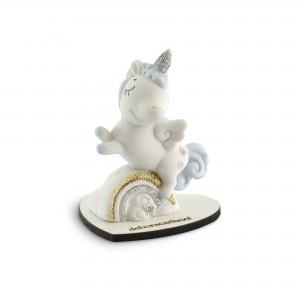 Unicorno azzuro con base in legno