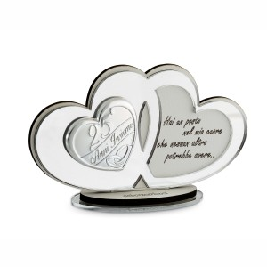 Icona cuori plex argento con frase per 25° anniversario