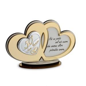 Icona cuori plex oro con frase 25° anniversario