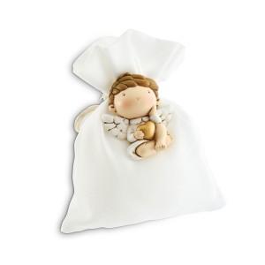 Puttino con cuoricino oro magnete con sacchetto