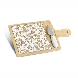Tagliere medio in bamboo e ceramica damascata con coltellino da formaggi