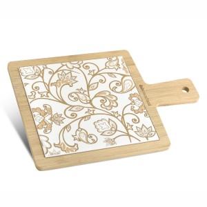 Tagliere quadrato grande in bamboo e ceramica damascata